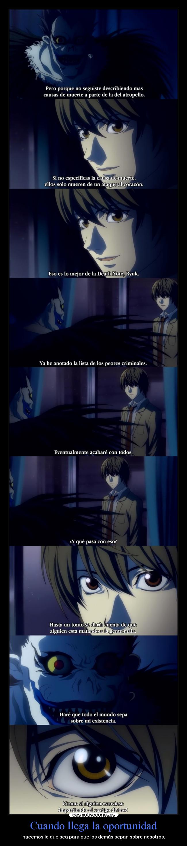 carteles death note light ryuk clandominadores ejercitodemar desmotivaciones