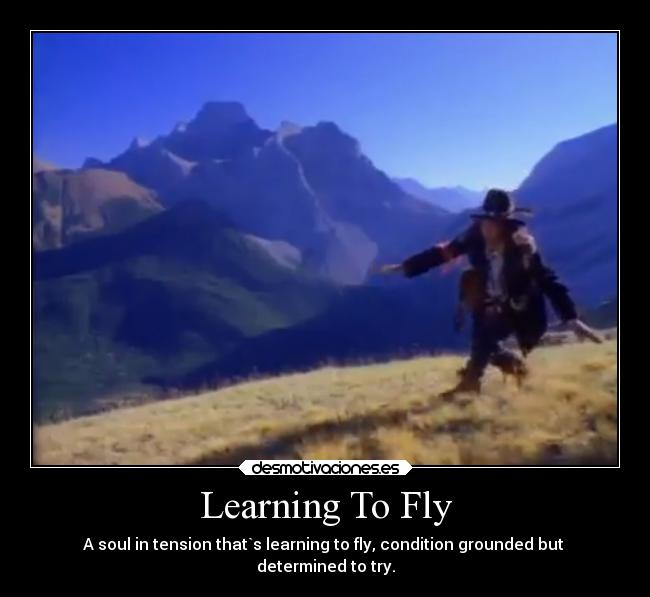 Learning To Fly - A soul in tension that`s learning to fly, condition grounded but  determined to try.