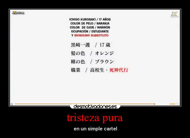 tristeza pura - en un simple cartel
