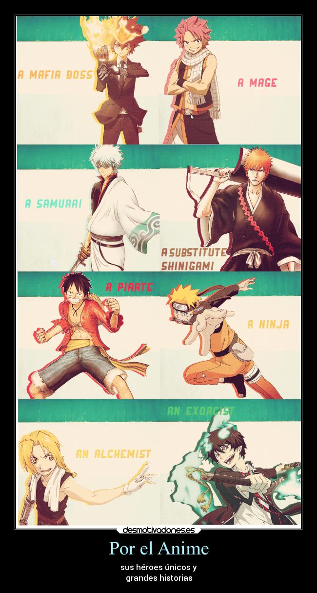 carteles anime naruto anime bleach one piece gintama blue exorcist katekyo fullmetal fairy tail desmotivaciones