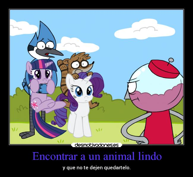 carteles humor crossover little pony regular show mordecai rigby benson rarity twilight ejercitodemar desmotivaciones