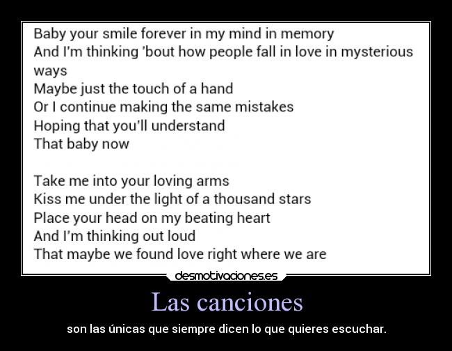 carteles musica thinking out loud desmotivaciones
