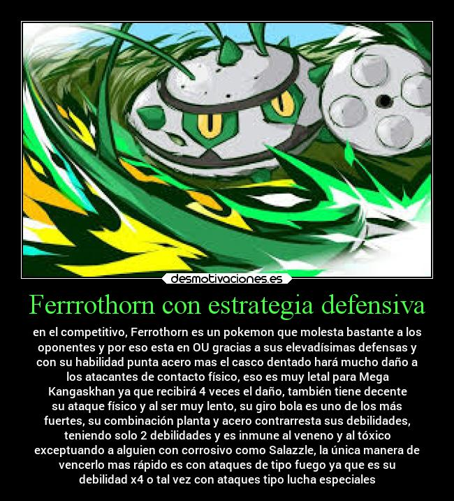 carteles pokemon ferrothorn defensivo estategia competitivo online desmotivaciones
