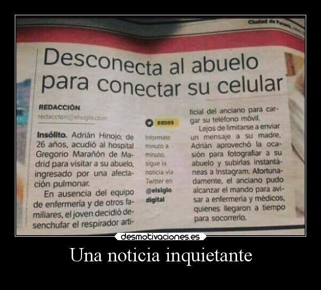 Una noticia inquietante -