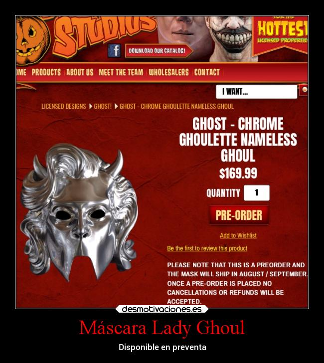 Máscara Lady Ghoul - Disponible en preventa