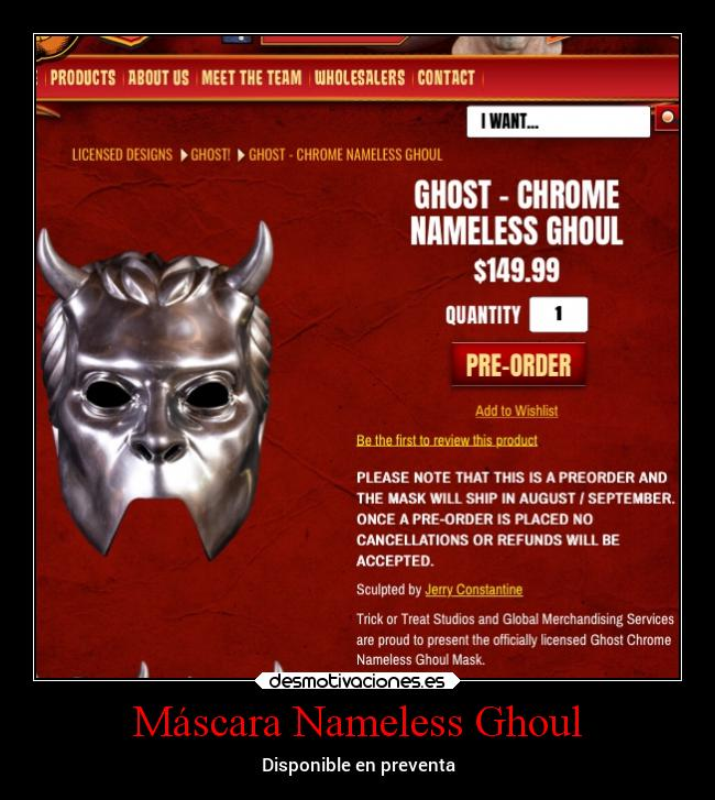 Máscara Nameless Ghoul - Disponible en preventa