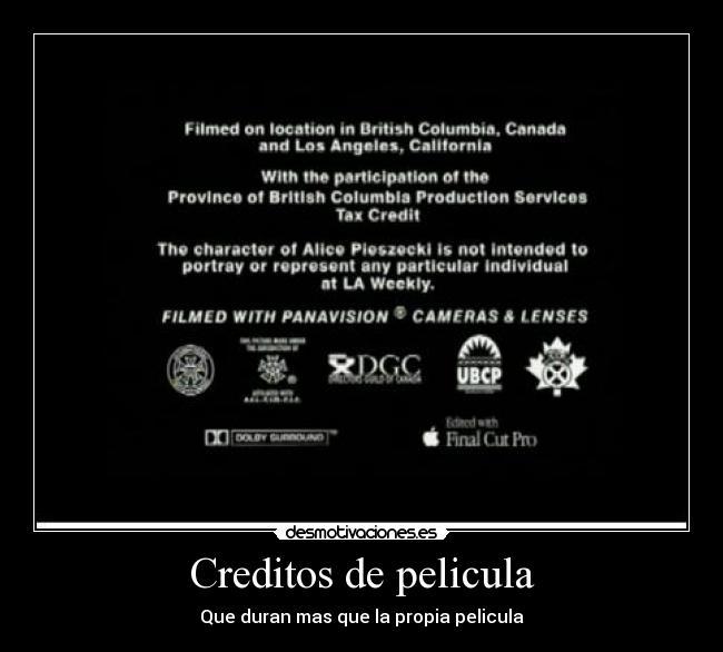 cartel de pelicula creditos