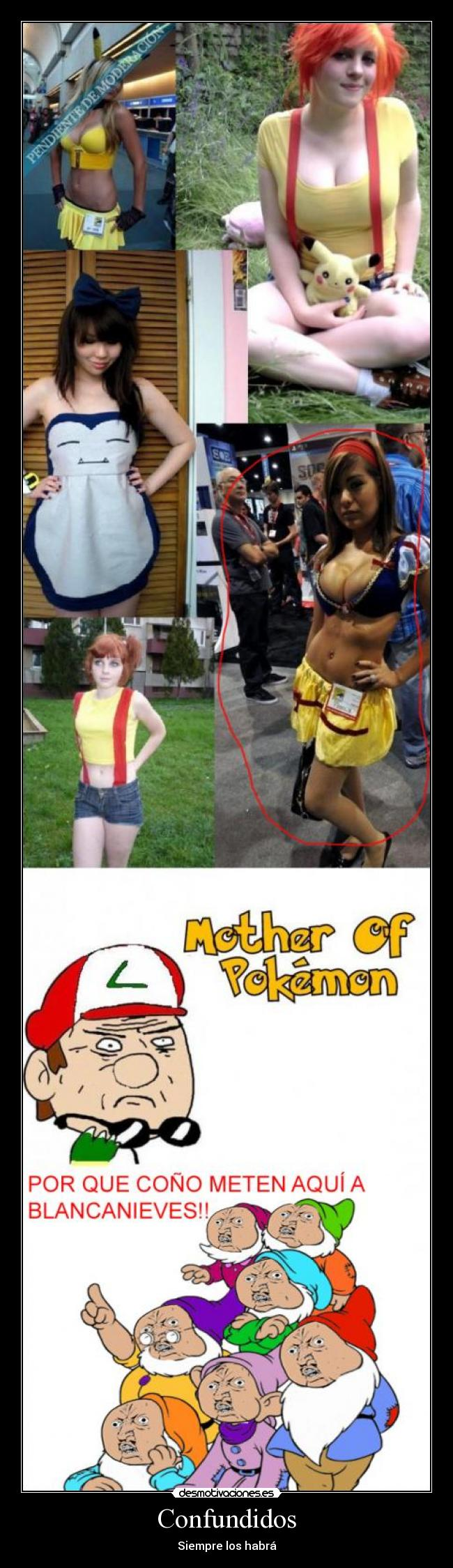 carteles enanos blancanieves pokemon cosplay pikachu misty desmotivaciones 82d445ff891