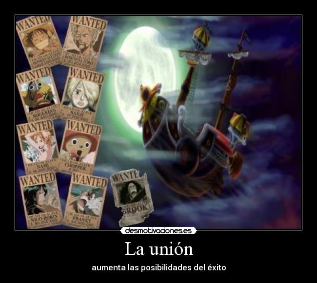 carteles one piece thousand sunny union exito banda wanted luffy zoro sanji usopp nami robin desmotivaciones