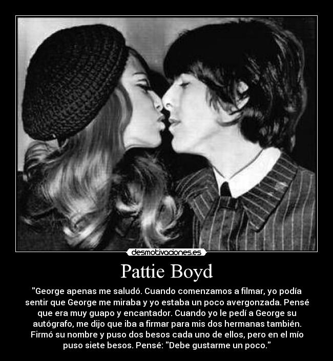 Carteles Amor Pattie Boyd George Harrison Beso Desmotivaciones